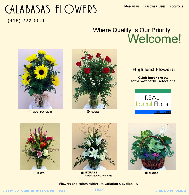 Calabasas Flowers professional designs. Delivery service available.